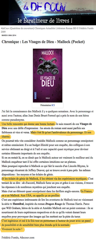 4deCouv: Chronique : Les Visages de Dieu - Mallock (Pocket)