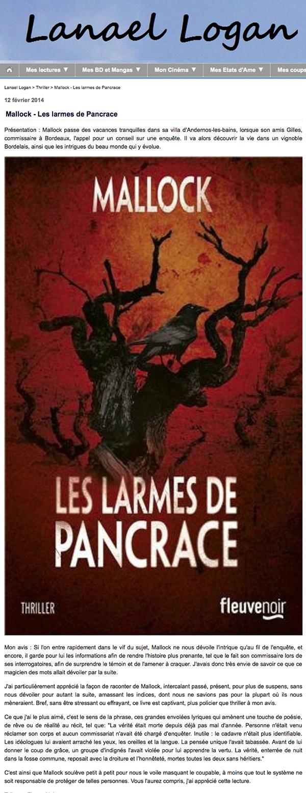 Mallock - Les larmes de Pancrace - Lanael Logan