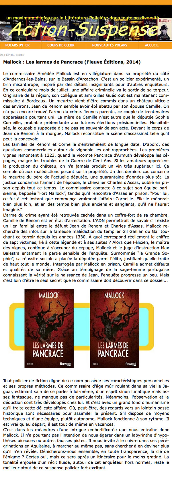 Mallock: Les larmes de Pancrace (Fleuve Éditions, 2014) - Le blog de Claude LE NOCHER