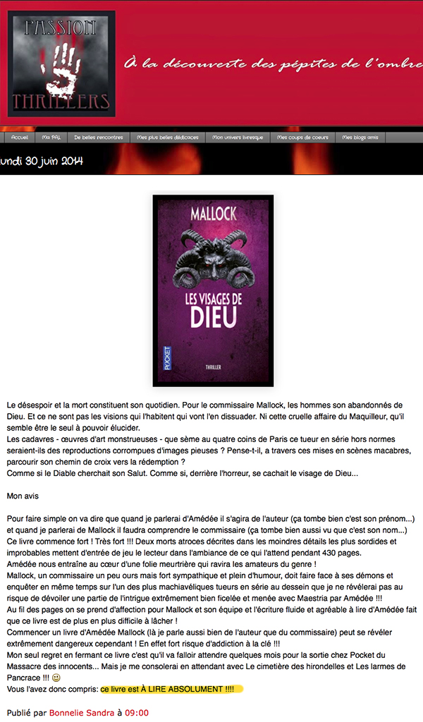 "Passion Thrillers: ""les visages de Dieu"" Mallock (Pocket)"
