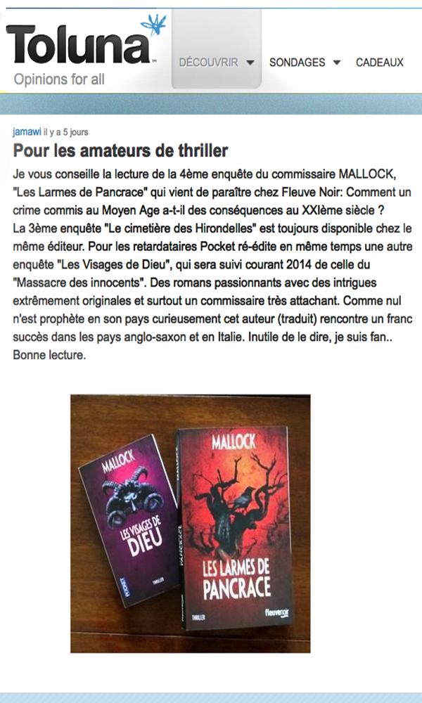 Pour les amateurs de thriller | Toluna