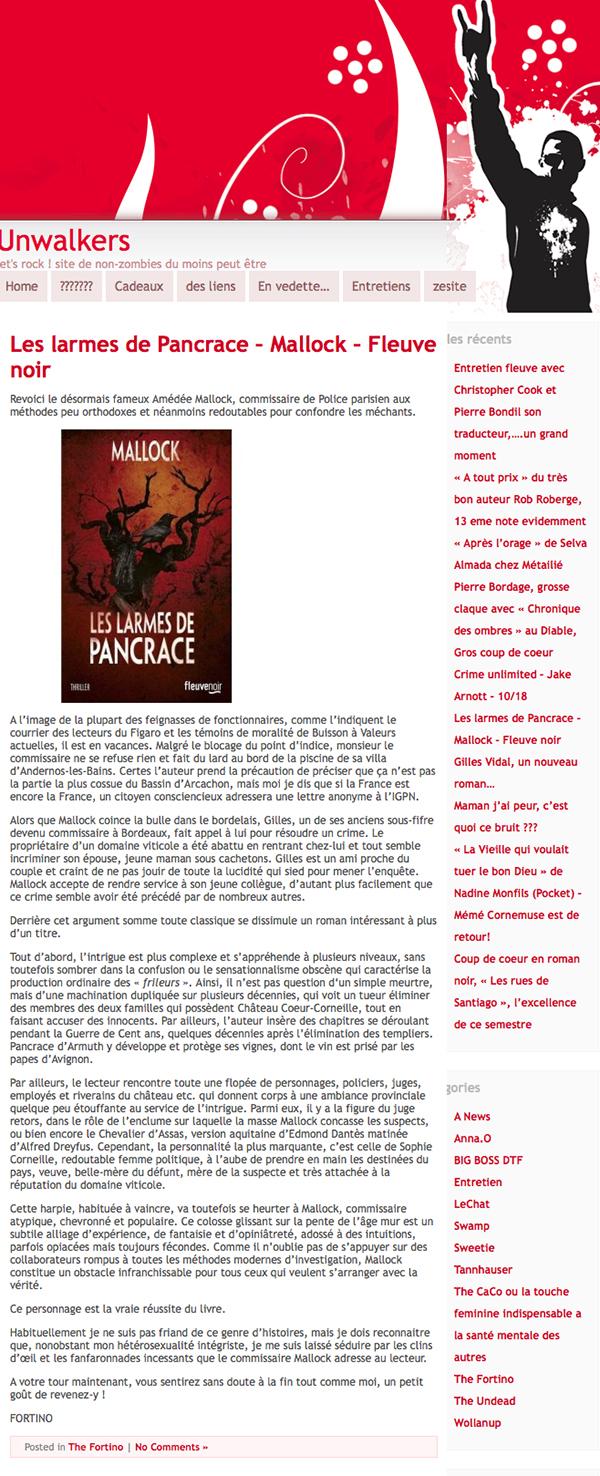 Unwalkers » Blog Archive » Les larmes de Pancrace – Mallock – Fleuve noir