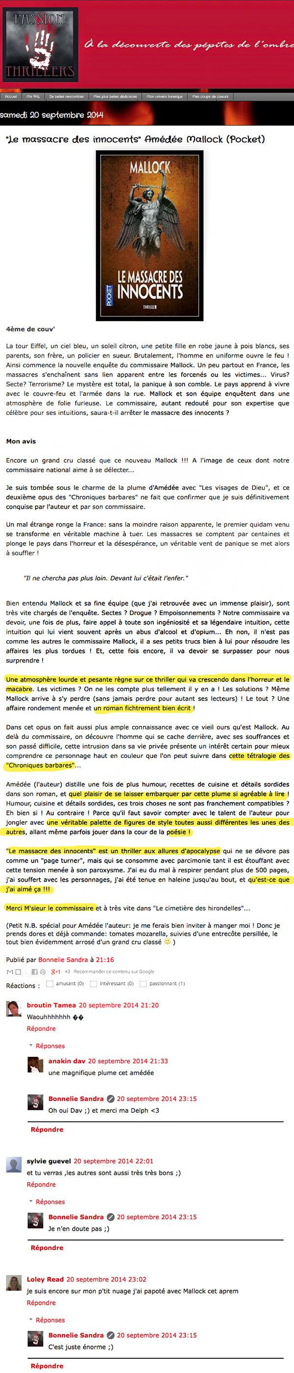 """Passion Thrillers: """"Le massacre des innocents"""" Amédée Mallock (Pocket)"""