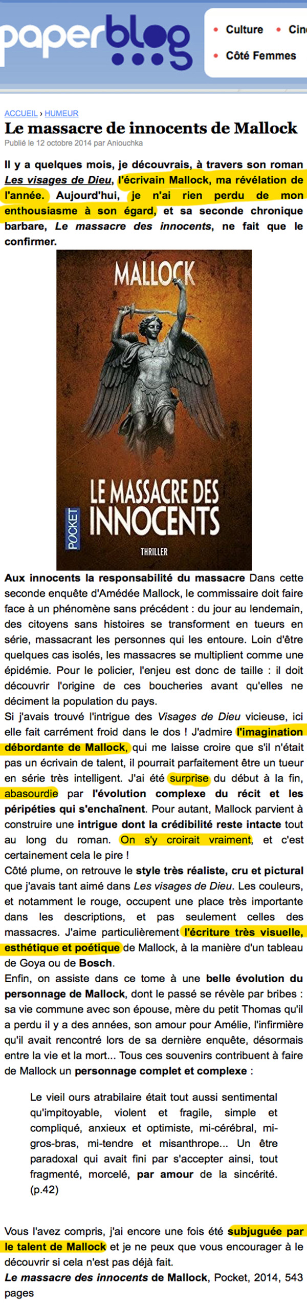 paperblog le massacre  innocents mallock