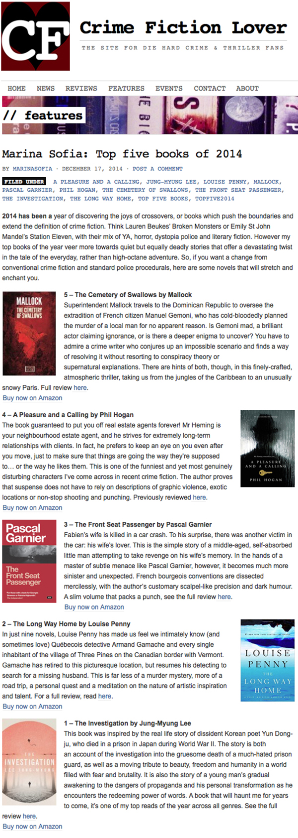 Marina Sofia: Top five books of 2014 | Crime Fiction Lover