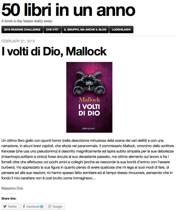 I volti di Dio, Mallock | 50 libri in un anno