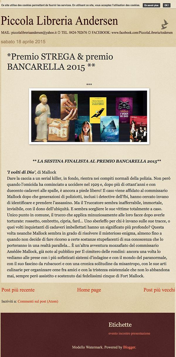 Piccola Libreria Andersen: *Premio STREGA & premio BANCARELLA 2015 **