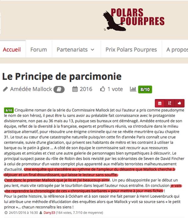 Le Principe de parcimonie est un roman de Amédée Mallock paru en 2016. Retrouvez sur cette page tous les votes des lecteurs pour cet ouvrage.