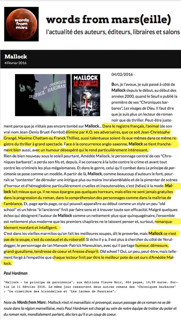 """04/02/2016 - Bon, je l'avoue, je suis passé à côté de Mallock depuis le début, au début des années 2000, quand le Seuil a publié la première de ses """"Chroniques barbares"""", Les visages de Dieu. Il faut dire que je suis plus un lecteur de roman noir que..."""